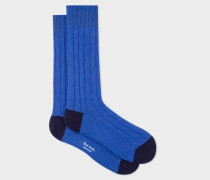 Blue Wool-Cashmere Socks With Navy Details