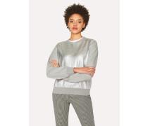 Grey Sweatshirt With Metallic Front