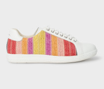 White Leather 'Lapin' Trainers With Multi-Coloured Raffia Detail