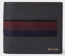 Black 'City Webbing' Leather Billfold And Coin Wallet