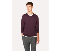 Burgundy V-Neck Merino Wool Sweater