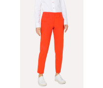 Classic-Fit Poppy Red Wool Trousers
