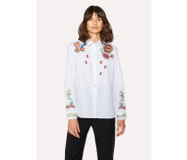 White Cotton Shirt With Floral And 'Sun' Embroidery