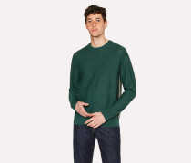 Green Wool Sweater With Side Stripes