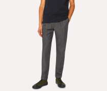 Dark Grey Marl Pleated Wool And Cotton-Blend Trousers