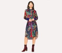 'Dreamer' Print Wool-Blend Shirt Dress