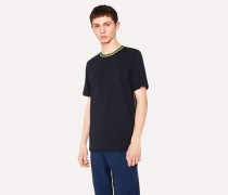 Navy Organic-Cotton T-Shirt With Contrast-Collar