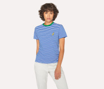 Blue And White Stripe Embroidered 'Dino' T-Shirt
