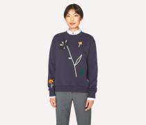 Dark Navy Embroidered Flowers Sweatshirt