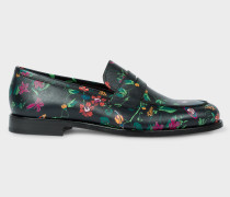 Black 'Explorer Floral' Print Leather 'Wolf' Loafers