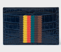 Blue Mock-Croc Leather Card Holder With 'Bright Stripe' Embroidery
