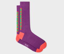 Purple 'Summer' Motif Ribbed Socks