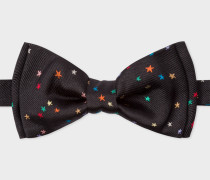 Black Embroidered 'Stars' Silk Bow Tie