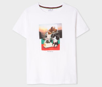 White 'Dog And Bone' Print Cotton T-Shirt
