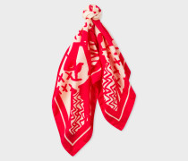 Red 'Dog' Print Silk Square Scarf