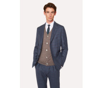 Tailored-Fit Blue Two-Tone Check Wool Buggy-Lined Blazer