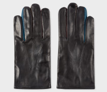 Black Lamb Leather Concertina Gloves