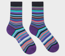 Dark Navy Socks With Violet And Blue Stripes