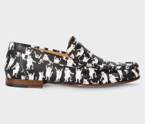 Black 'Danny' Leather Loafers With 'Dancing Cats' Print
