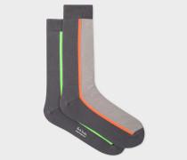 Oatmeal And Grey Vertical Stripe Socks