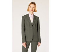 A Suit To Travel In -  Olive Green One-Button Wool Blazer