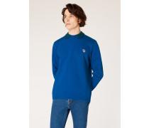 Blue Organic-Cotton Zebra Logo Sweatshirt