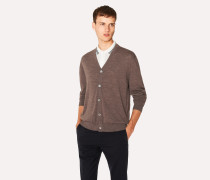 Taupe Merino Wool Cardigan With Contrast Internal Trims