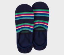 Navy Colour-Block Stripe Loafer Socks
