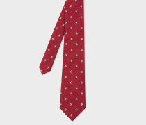Red Embroidered Football Motif Silk Tie