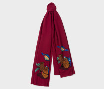 Burgundy 'Explorer' Embroidered Cotton Scarf