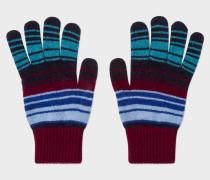 Burgundy Stripe Lambswool Gloves