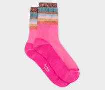 Pink Glitter Stripe Semi-Sheer Socks