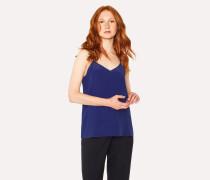 Blue Silk-Blend Cami Top