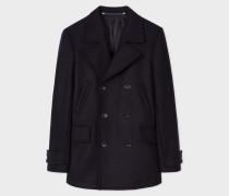 Dark Navy Wool-Cashmere Pea Coat