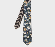 Floral And Geometric Stripe Silk Tie