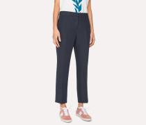 Slim-Fit Navy Linen Trousers