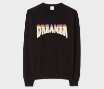 Black Lambswool Sweater With 'Dreamer' Embroidery
