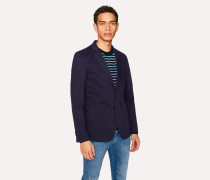Mid-Fit Navy Buggy-Lined Stretch-Cotton Blazer