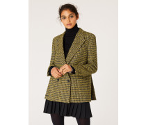 Black And Yellow Dogtooth Pattern Double-Breasted Wool-Blend Blazer