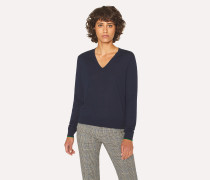 Navy V-Neck Wool Sweater