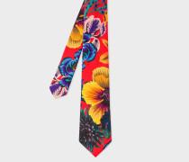 Red 'Ocean' Print Silk Tie