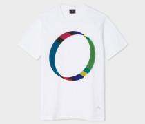 White Circular 'Cycle Stripe' Print Organic-Cotton T-Shirt