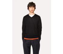 Black V-Neck Merino Wool Sweater