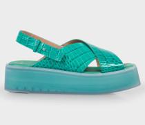 Turquoise Mock-Croc Leather 'Kai' Sandals