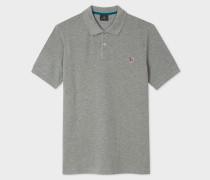 Grey Marl Organic Cotton-Piqué Zebra Logo Polo Shirt