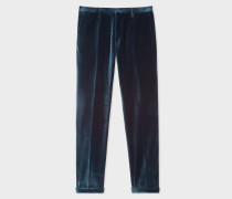Slim-Fit Dark Petrol Velvet Trousers