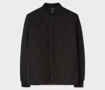 Black Diamond-Quilted Bomber Jacket