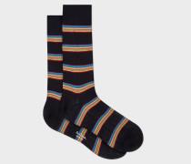 Dark Navy Multi-Coloured Block Stripe Socks