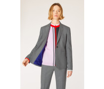A Suit To Travel In -  Grey Marl One-Button Wool Blazer