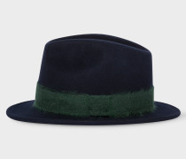 Navy Mohair-Band Wool Trilby Hat